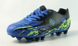 DREAM PAIRS Boys Soccer Cleats Blue/Black/Lime Green Size 3