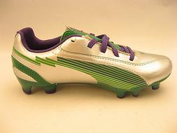 PUMA Boys Youth Soccer Cleats Size 1.5 Silver Green Violet N