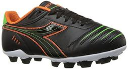 Diadora Kids' Cattura MD Jr Soccer Shoe, Black/Orange/Lime,