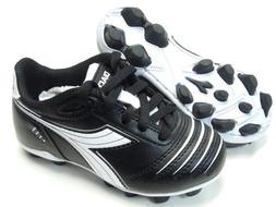 Diadora Cattura MD JR Youth Soccer Cleats Black White Shoes