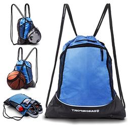 Drawstring Bag with Mesh Net - Perfect Sackpack with Ball Ne