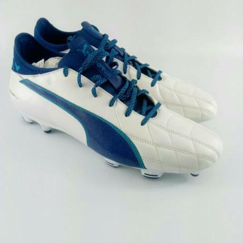 Puma evoTOUCH 3 Leather FG Soccer Cleats - White/Blue - 1039