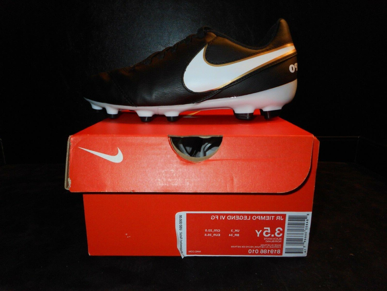NIB BOYS NIKE JR. TIEMPO LEGEND VI FG SOCCER CLEATS 819186 0