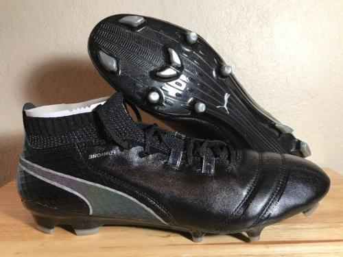 PUMA One 17.1 FG Soccer Cleats SZ 10.5 Black Gray Leather  M