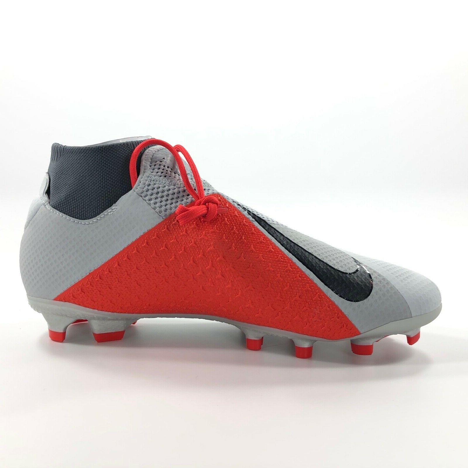Nike FG Soccer Cleats Grey Black Red Men's