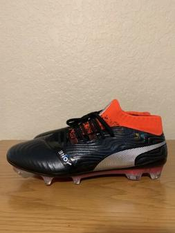 PUMA Men's One 18.1 FG Soccer Cleats/Black/Silver/Red Blast