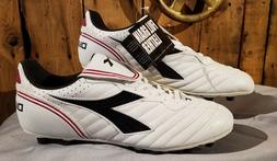 Diadora Molded Scudetto LT MD PU Soccer Cleats Size 11 White