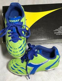 NEW DIADORA Green with Blue Childs Soccer Cleats Size 10 ~ F