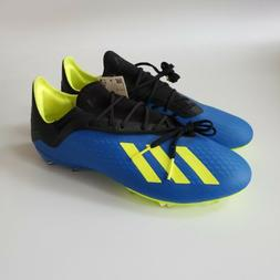 NEW Adidas Men's X 18.2 FG Cleats Blue/Yellow/Black DA9334 U
