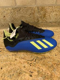 NEW Adidas Men's X 18.2 FG Soccer Cleats Blue/Yellow/Black S