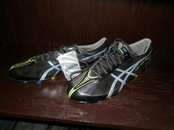 New asics mens Soccer Shoes DS LIGHT X-FLY size 11 black/sil