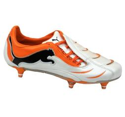 PUMA Powercat 1.10 SG Mens Leather Soccer Boots/Cleats-White