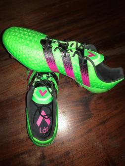 Adidas Soccer Cleats Men Ace 16.1 Fg Solar Green/Shock Pink/