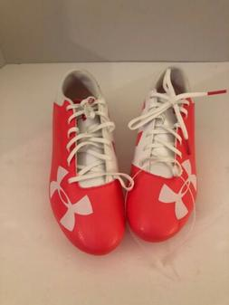 UNDER ARMOUR SOCCER CLEATS WHITE PINK WOMENS  SIZE 7.5