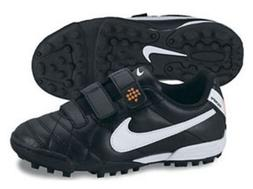 Nike Tiempo Turf Soccer Cleats Shoes No Laces Black White Yo