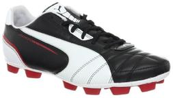 PUMA Men's Universal R HG Soccer Cleat,Black/White/Ribbon Re