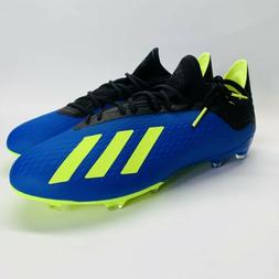 Adidas X 18.2 FG Men's Soccer Cleats Volt Yellow Blue DA9334